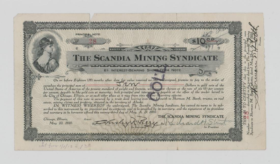 The Scandia Mining Syndicate Stock Certificate