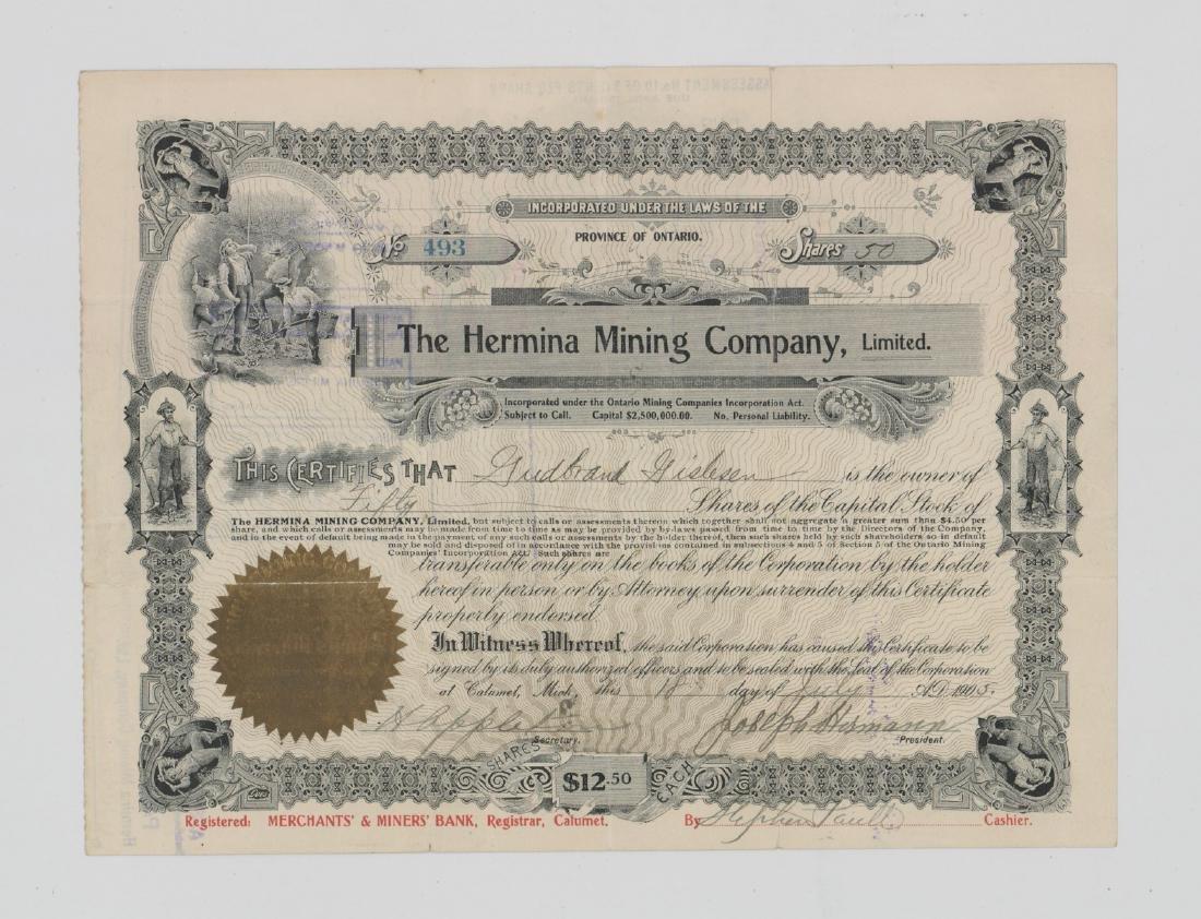 The Hermina Mining Company Stock Certificate