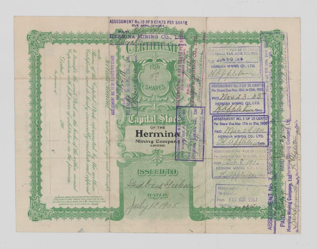 The Hermina Mining Company Stock Certificate - 2