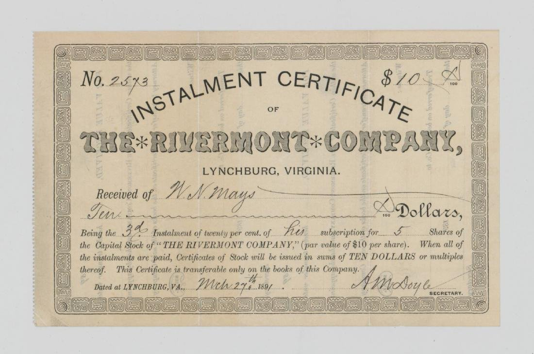 The Rivermont Company Stock Certificate 1891