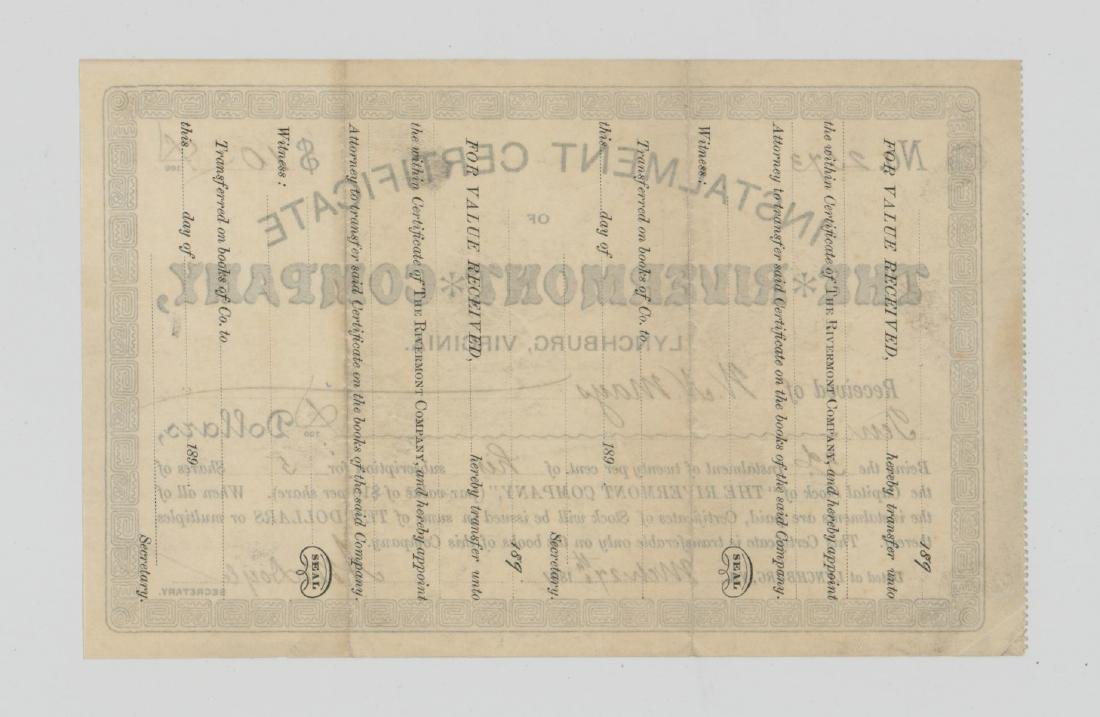 The Rivermont Company Stock Certificate 1891 - 2