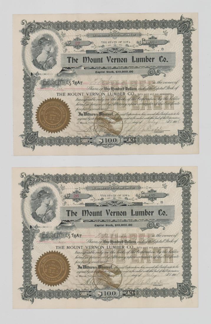 Twenty-One Mount Vernon Lumber Stock Certs - 10