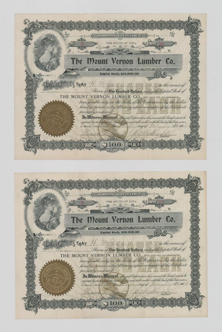 Twenty-One Mount Vernon Lumber Stock Certs - 2