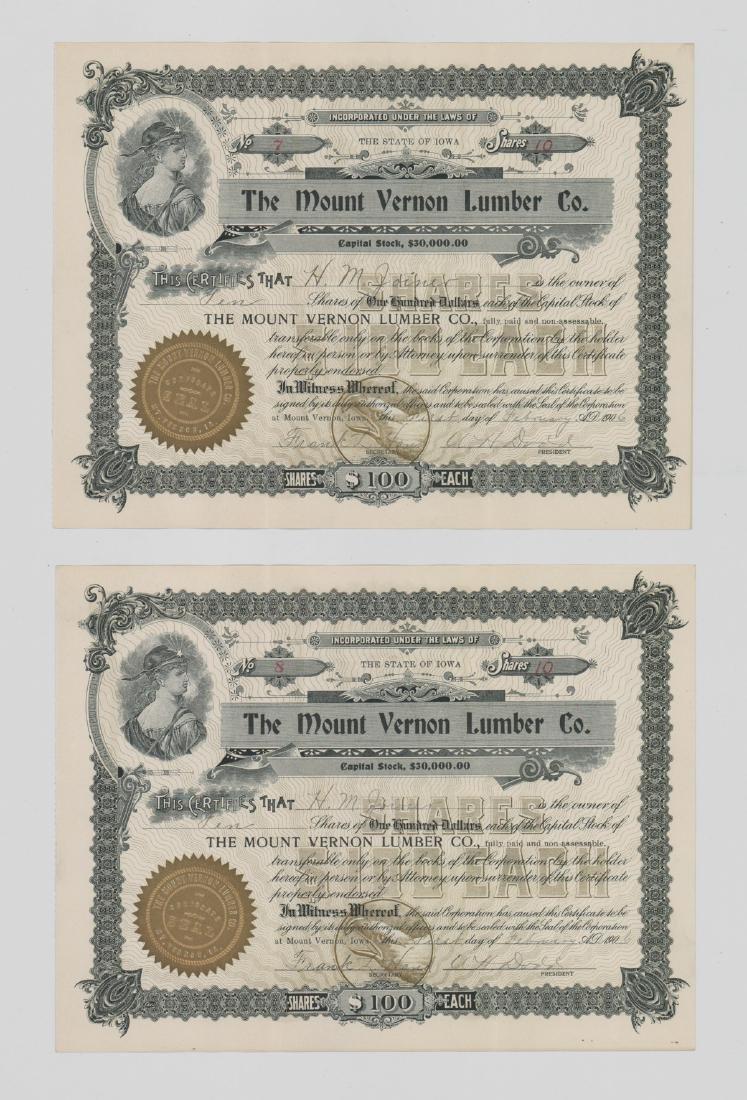 Twenty-One Mount Vernon Lumber Stock Certs - 3