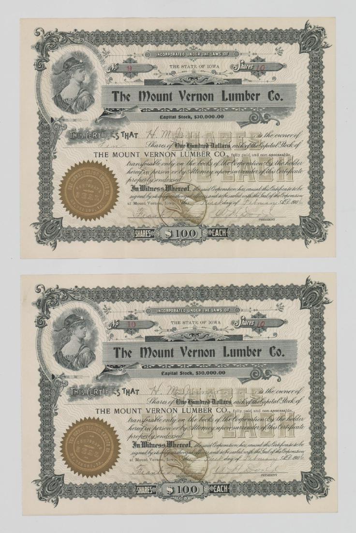 Twenty-One Mount Vernon Lumber Stock Certs - 4