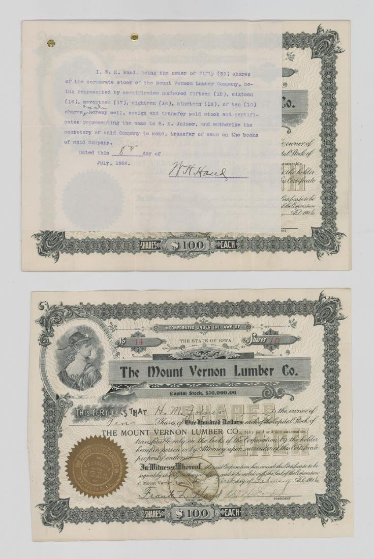 Twenty-One Mount Vernon Lumber Stock Certs - 5