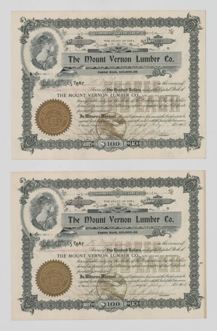 Twenty-One Mount Vernon Lumber Stock Certs - 8
