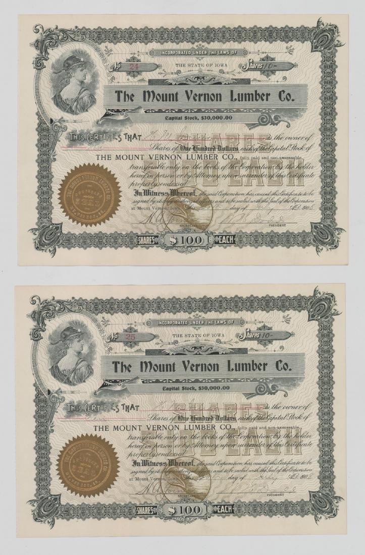 Twenty-One Mount Vernon Lumber Stock Certs - 9