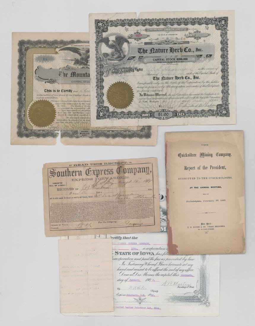 Group of Stock Certificates and Documents