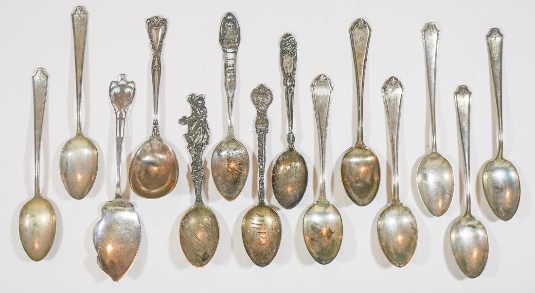A Group of Sterling Souvenir Spoons and more