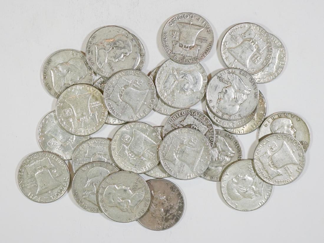Twenty-Eight U.S. Silver Franklin Half Dollars