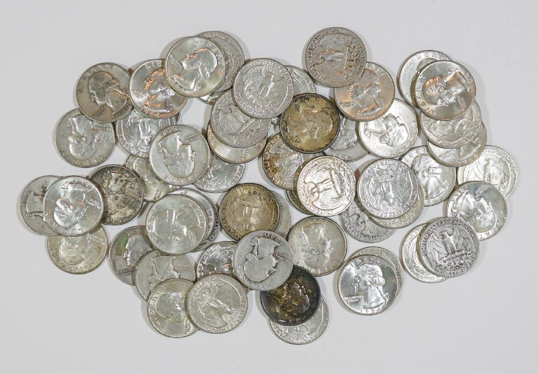 Fifty-Five U.S. Silver Quarters 1932-1964