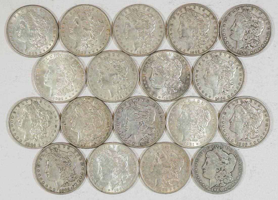 Eighteen U.S. Morgan Silver Dollars 1878-1921