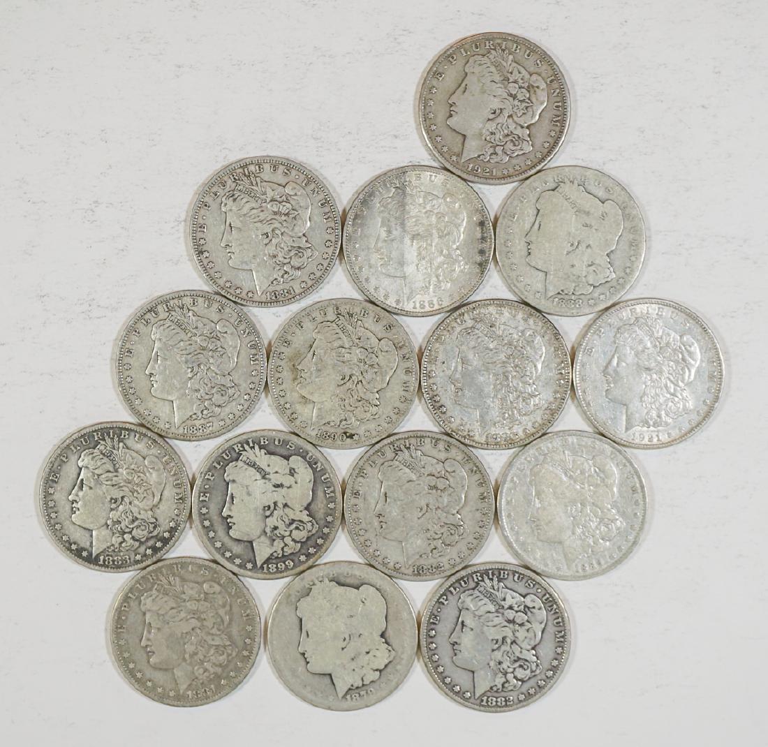 Fifteen U.S. Morgan Silver Dollars 1878-1921