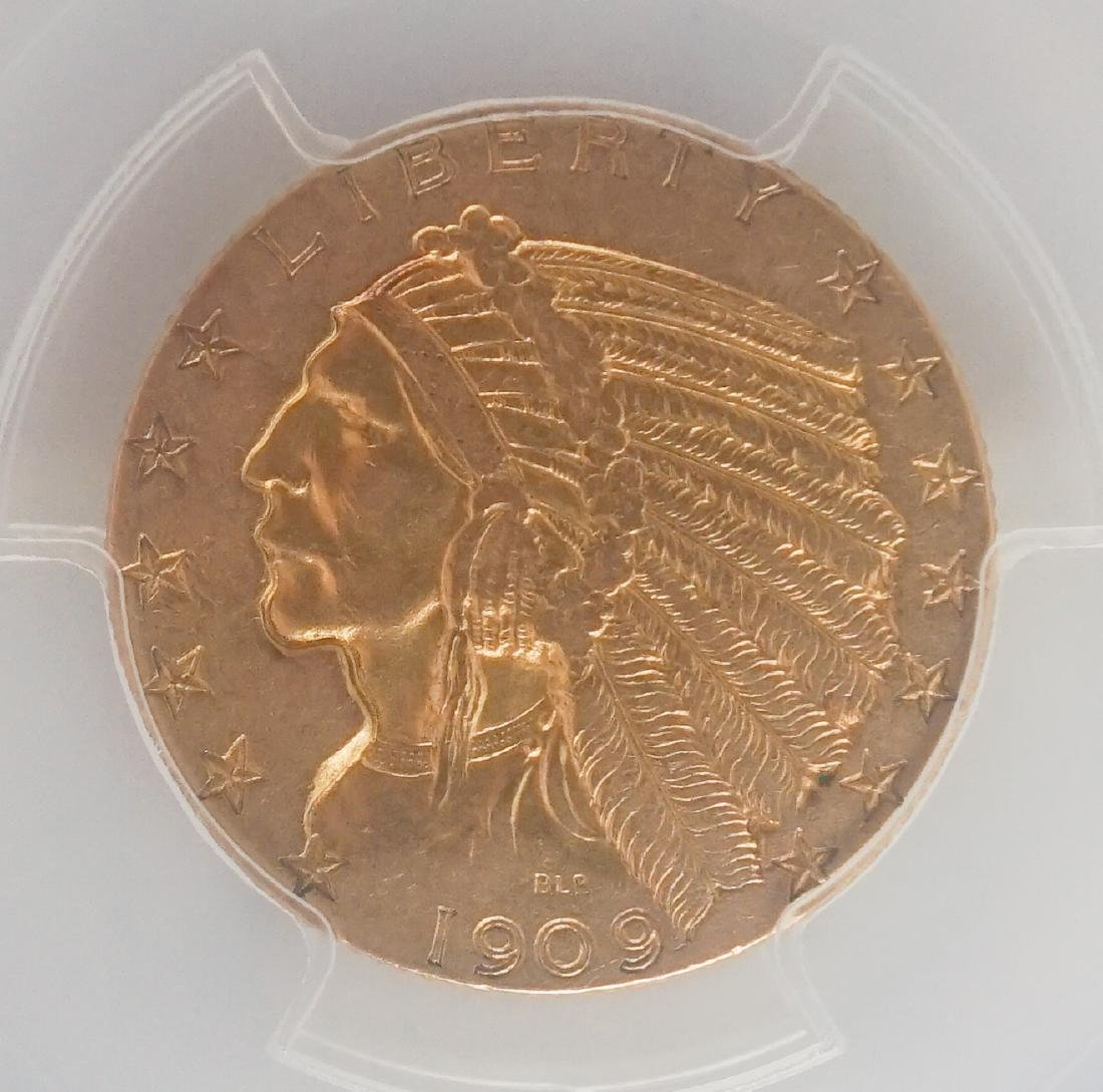 1909-O Indian Head Half Eagle $5 U.S. Gold Coin - 3