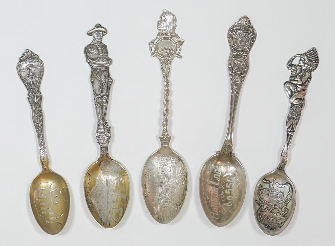 Five Ornate Sterling Souvenir Spoons