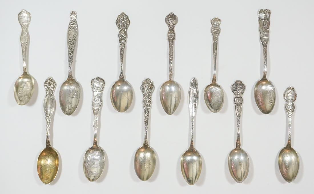 A Large Group of Sterling Souvenir Spoons, 7 ozt