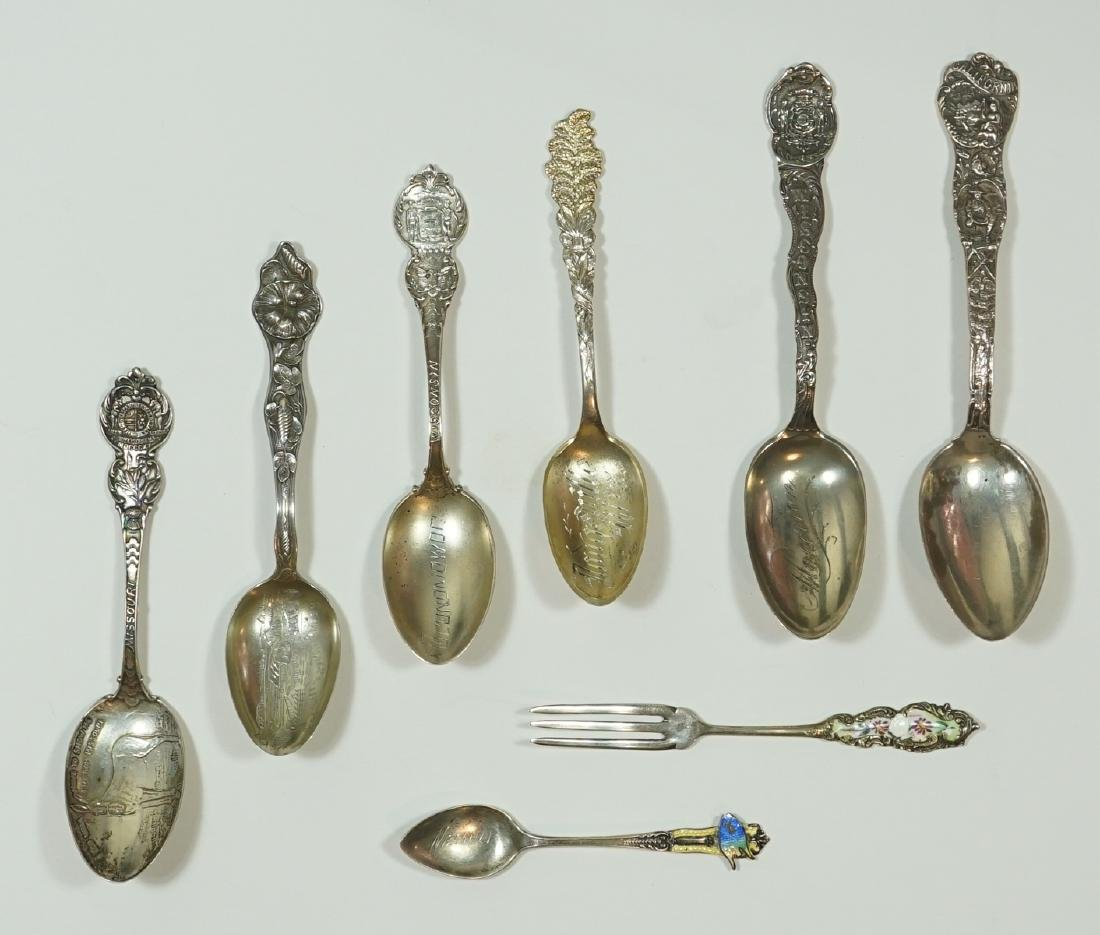 A Group of Eight Sterling Souvenir Spoons