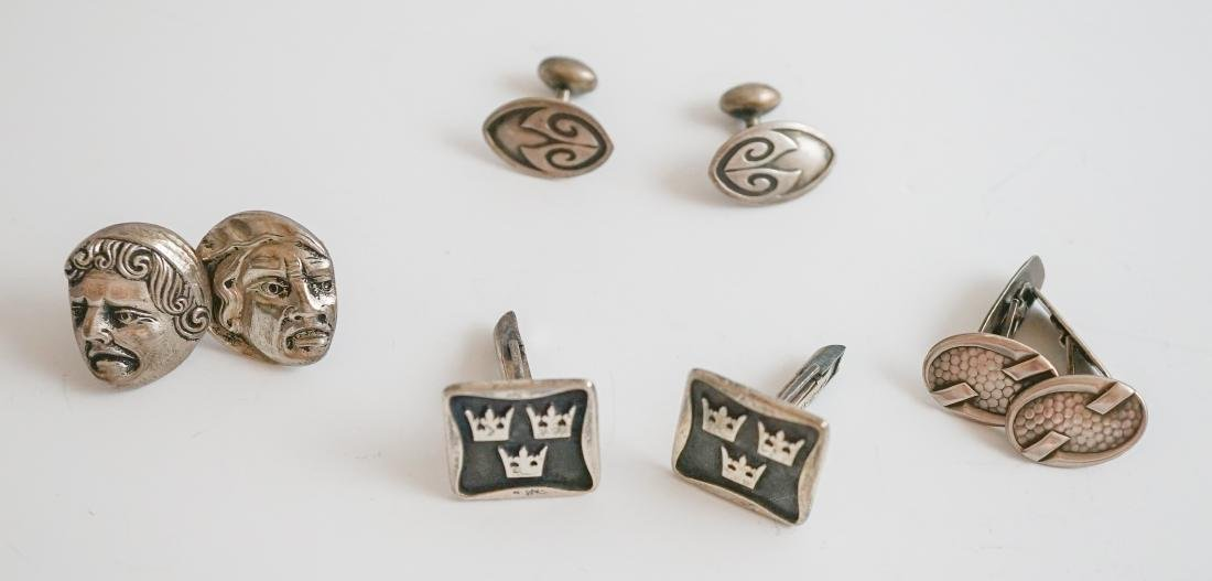 Four Pairs of Sterling Cufflinks