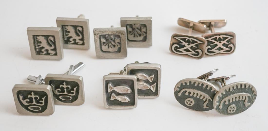 Six Pairs of Swedish Designer Cufflinks