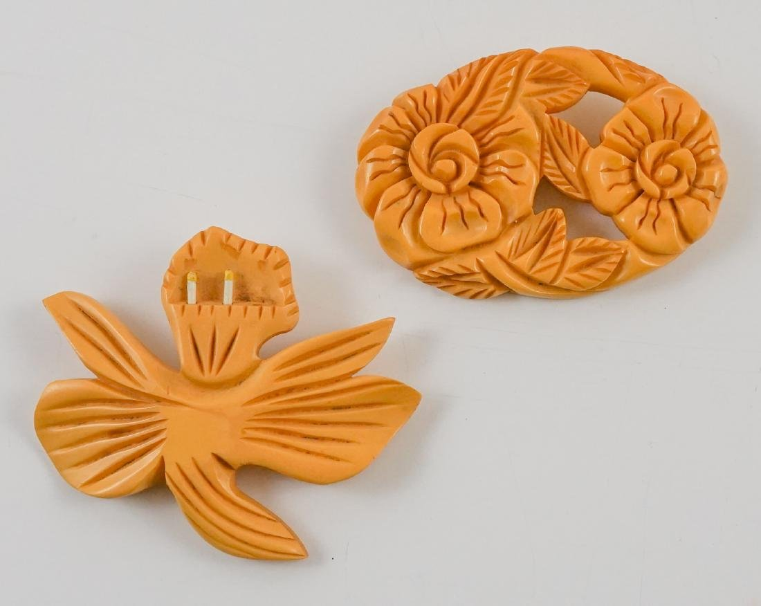 Two Vintage Large Bakelte Floral Brooches