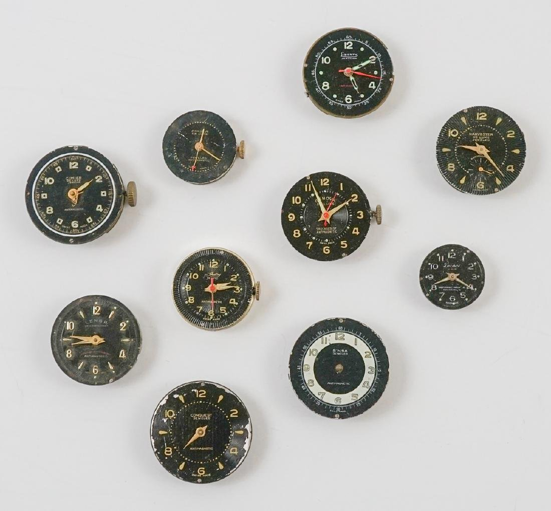 Ten Vintage Watch Movements with Dials