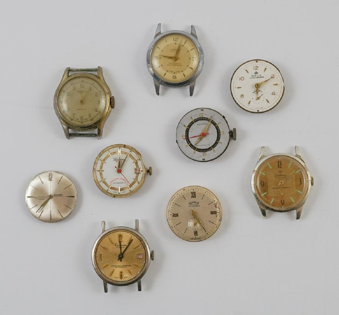 Nine Vintage Watch Movements with Dials