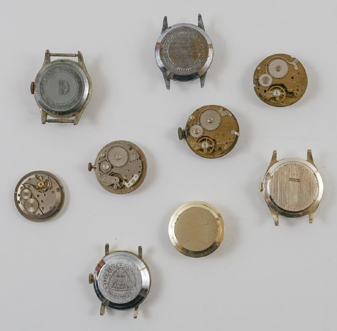Nine Vintage Watch Movements with Dials - 2