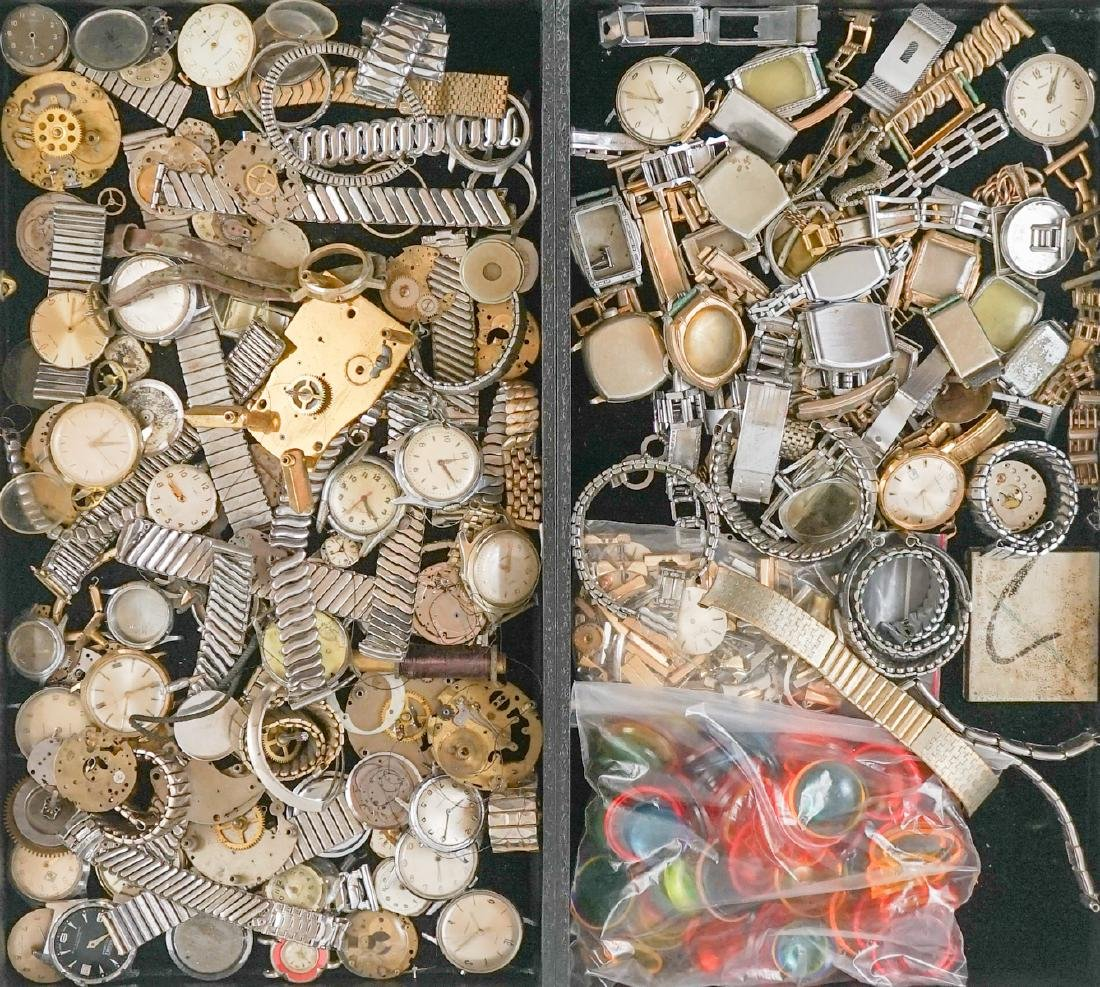 Large Group of Watch Parts and Pieces