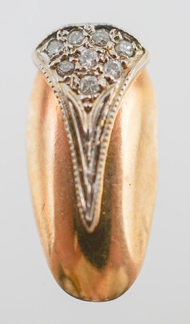 14K Yellow Gold and Diamond Fingernail