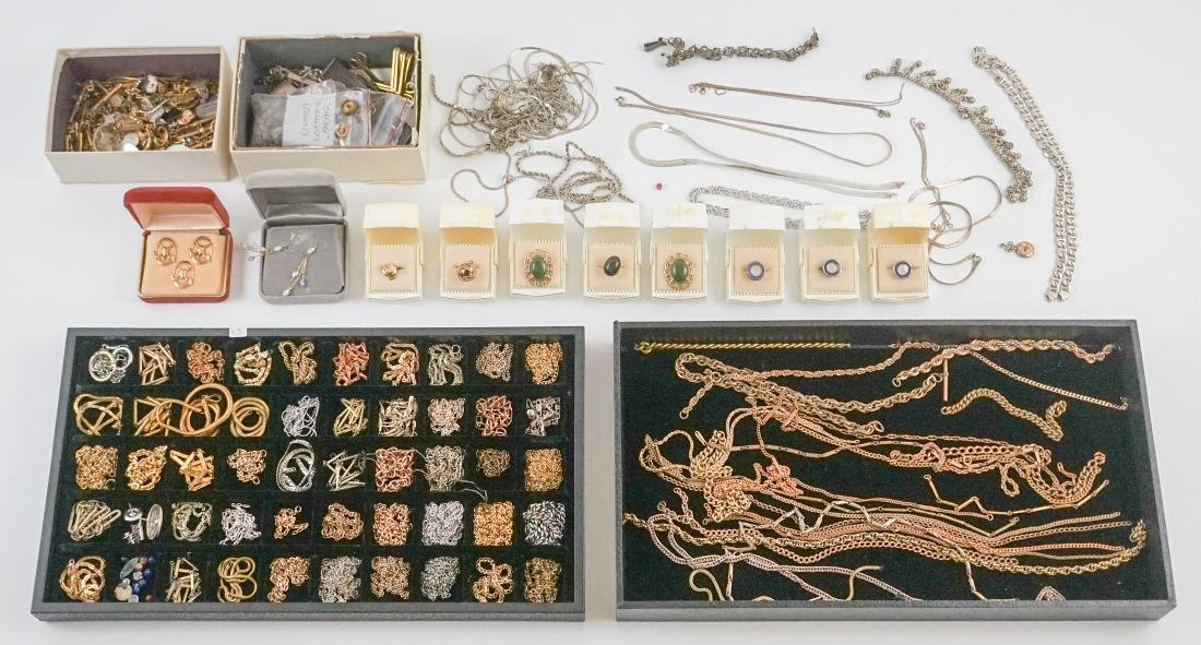 Large Group of Watch Chains, Slides and More
