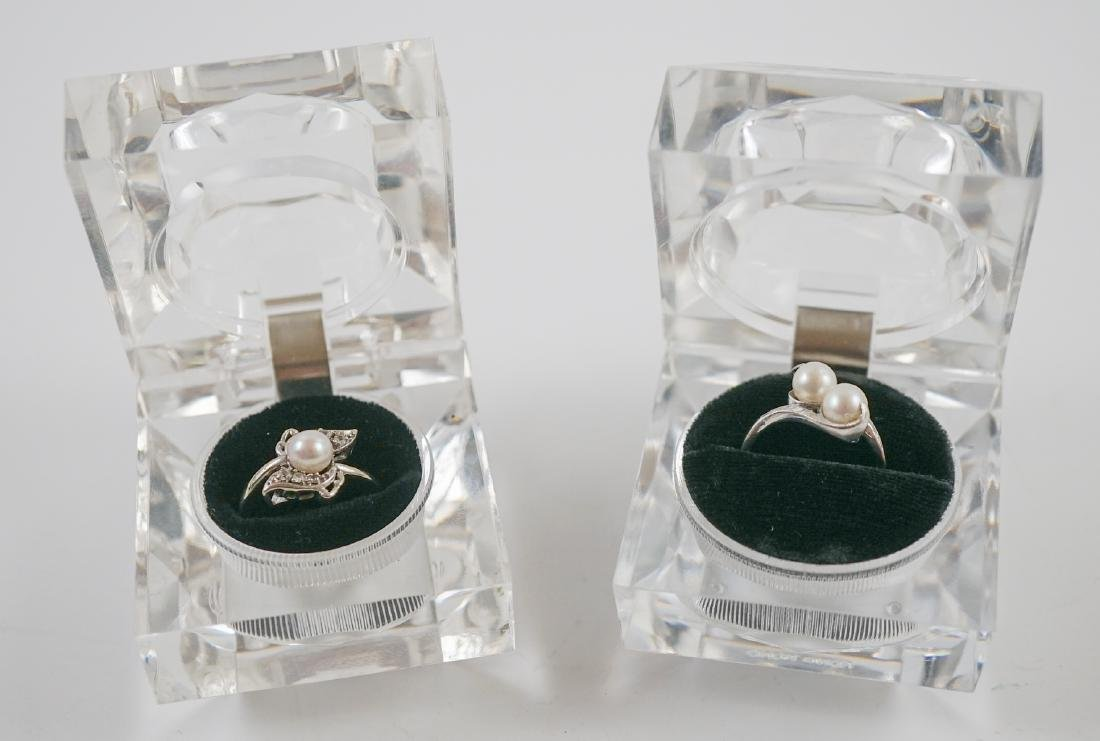 Two White Gold and Pearl Rings