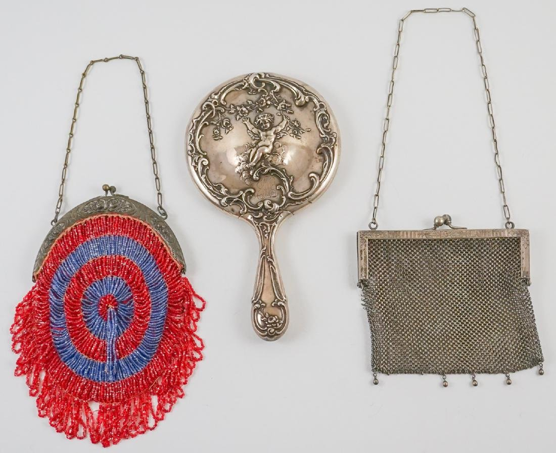 Sterling Hand Mirror, German Silver Mesh Bag