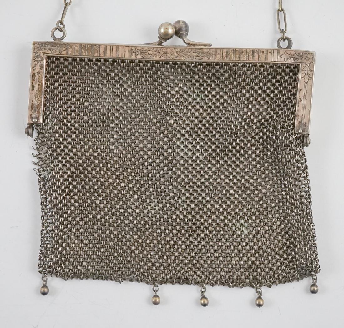 Sterling Hand Mirror, German Silver Mesh Bag - 2