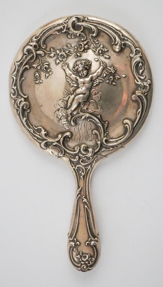 Sterling Hand Mirror, German Silver Mesh Bag - 4
