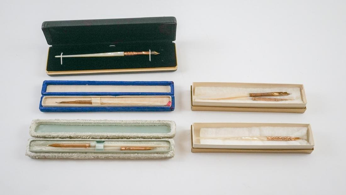 Eight Antique Mother of Pearl Pens