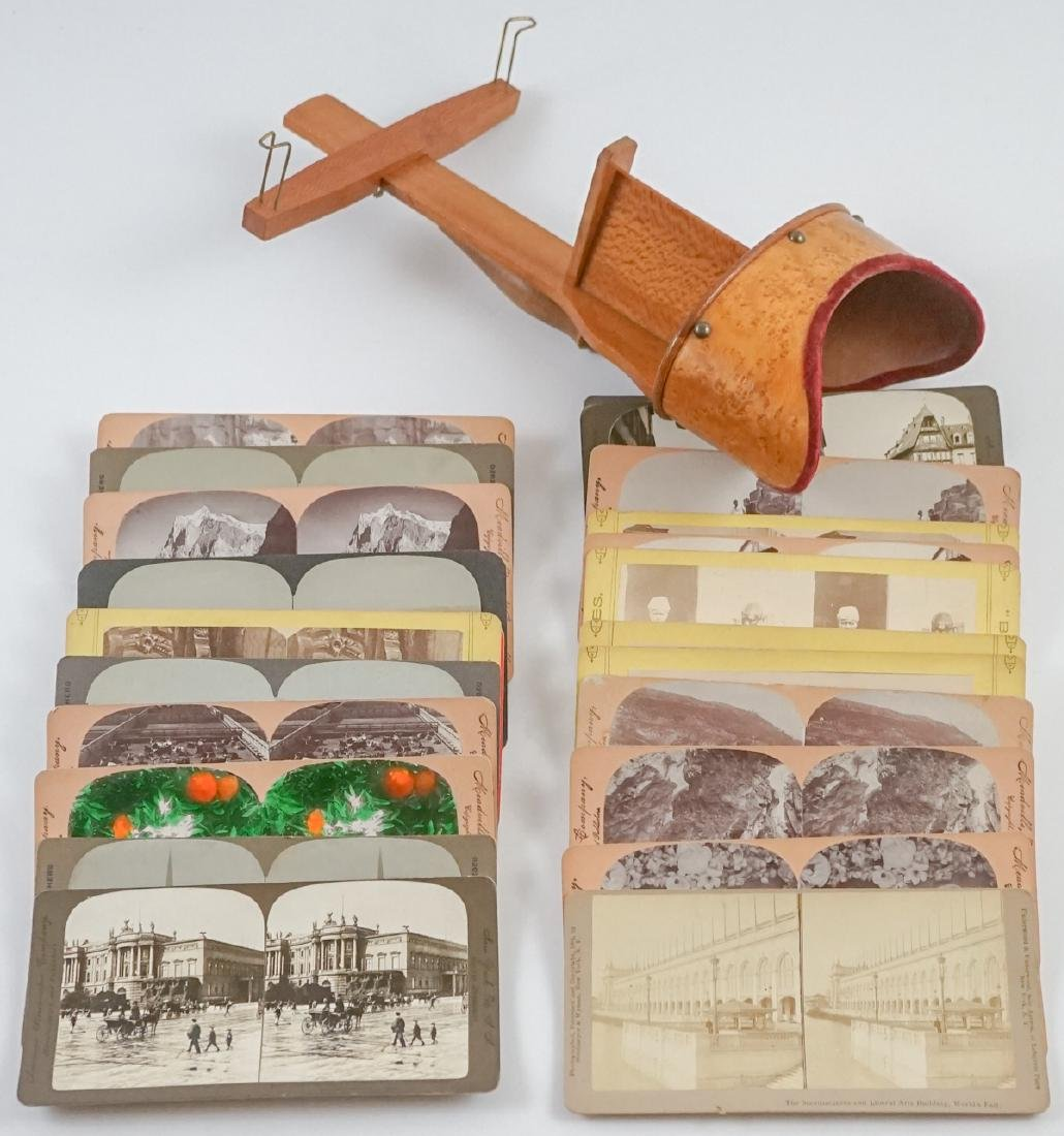 Antique Maple Stereoviewer and Twenty-Two Views
