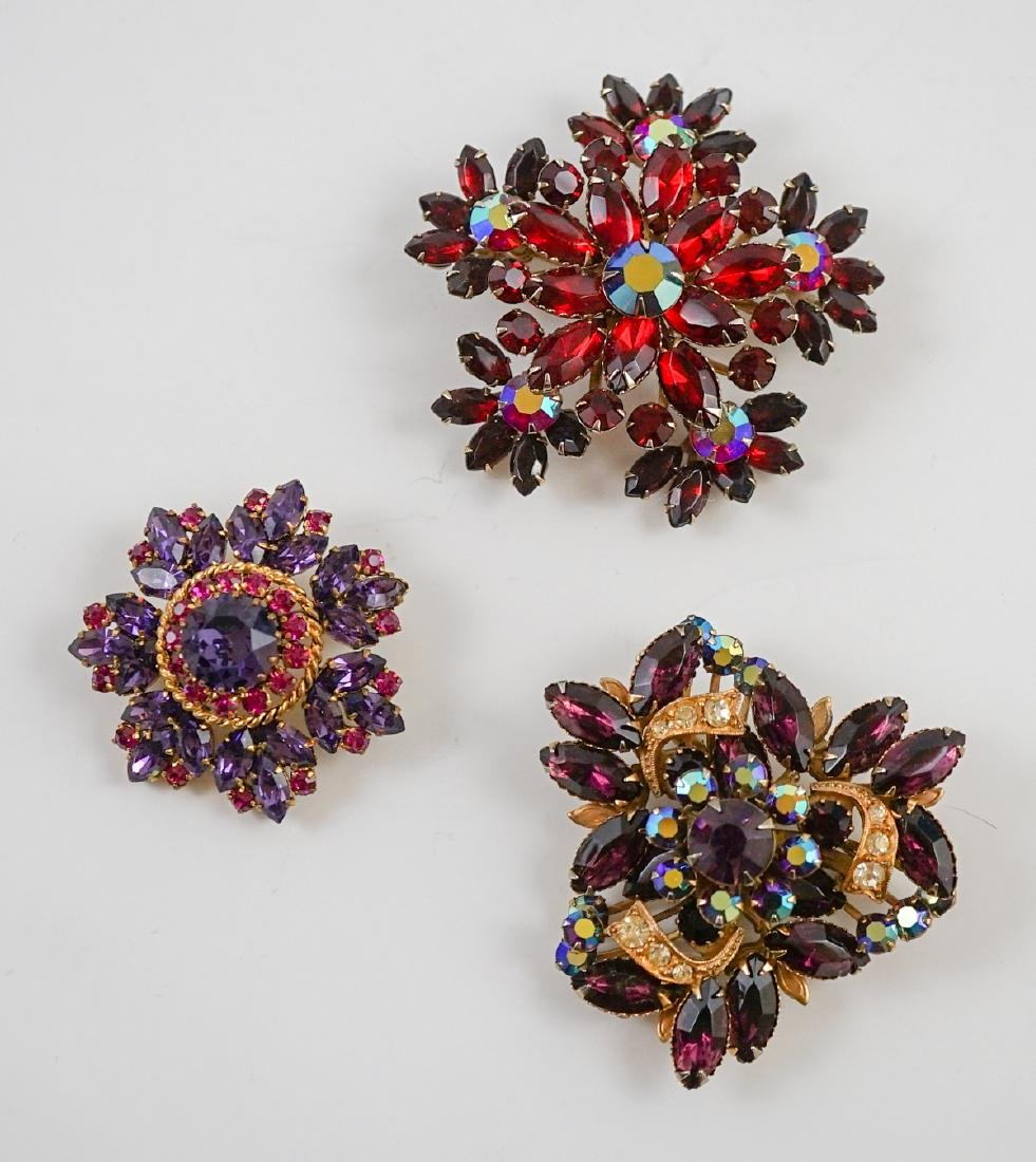 Three Vintage Costume Brooches