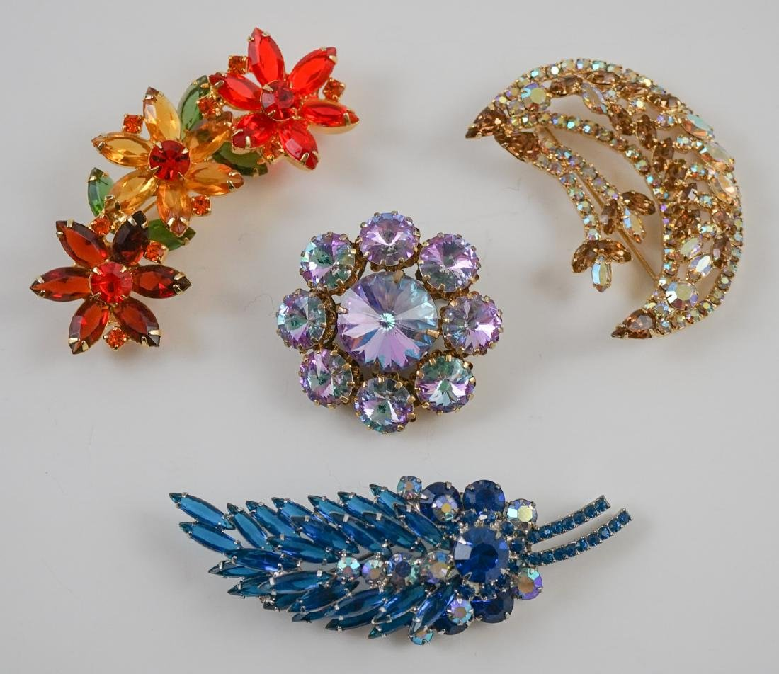 Four Vintage Costume Brooches