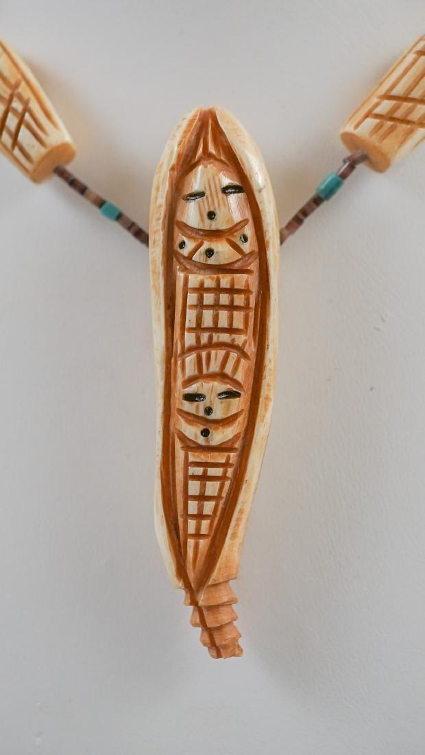 Native American Carved Bone Fetish Necklace - 2