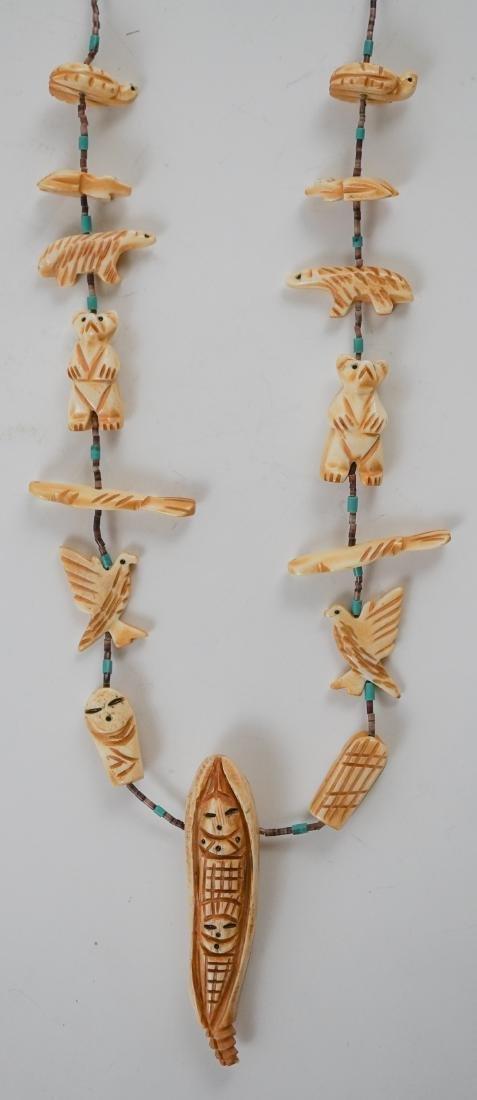 Native American Carved Bone Fetish Necklace - 3