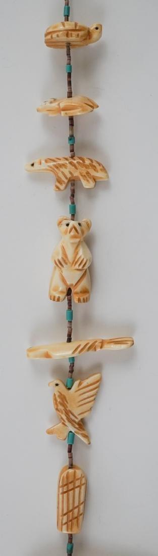 Native American Carved Bone Fetish Necklace - 4