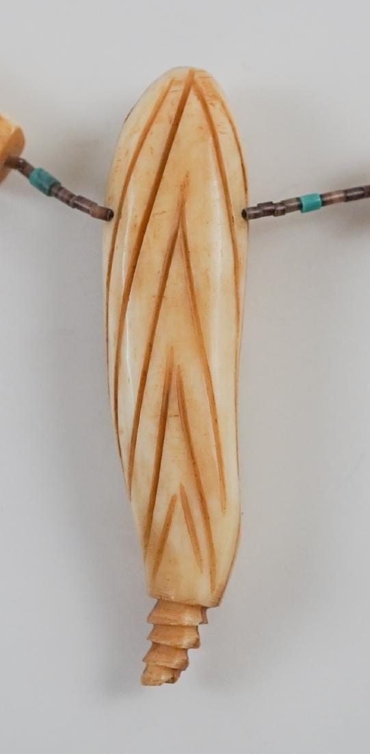 Native American Carved Bone Fetish Necklace - 5