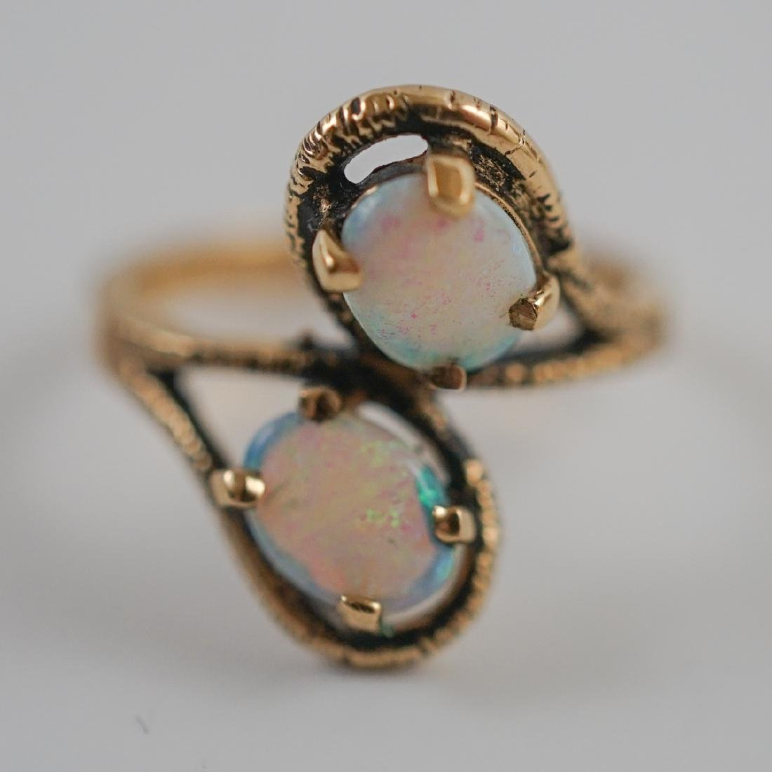 Ladies 10K Yellow Gold Ring with Opals