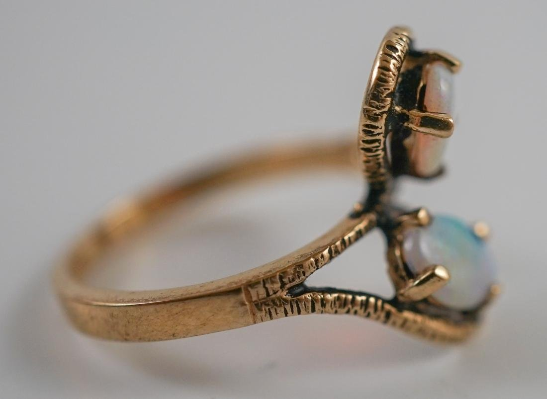 Ladies 10K Yellow Gold Ring with Opals - 2