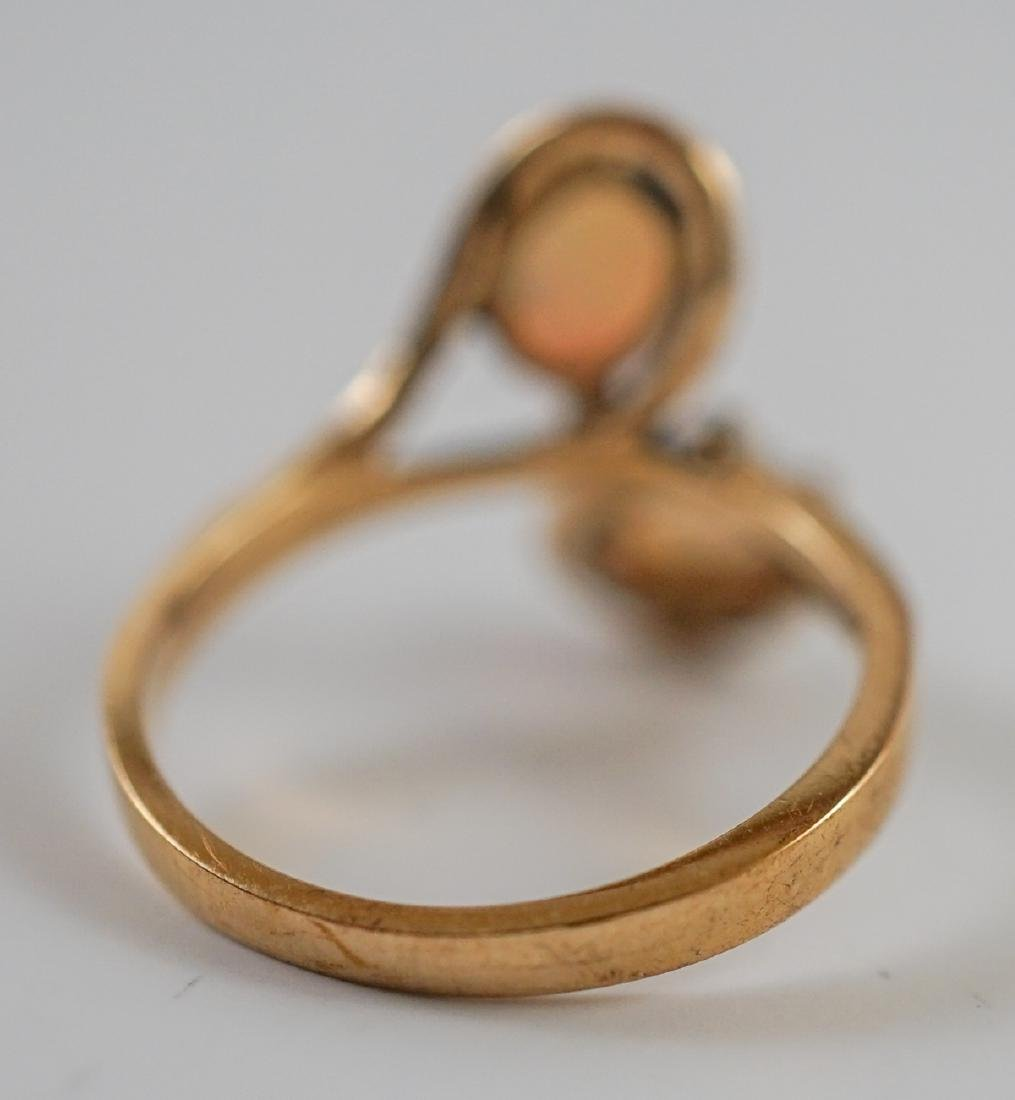 Ladies 10K Yellow Gold Ring with Opals - 4