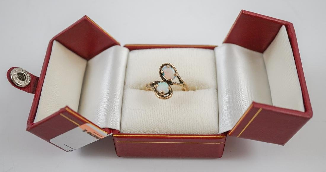 Ladies 10K Yellow Gold Ring with Opals - 8
