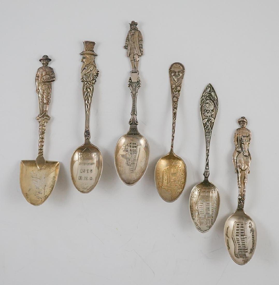 Six Large Figural Sterling Souvenir Spoons