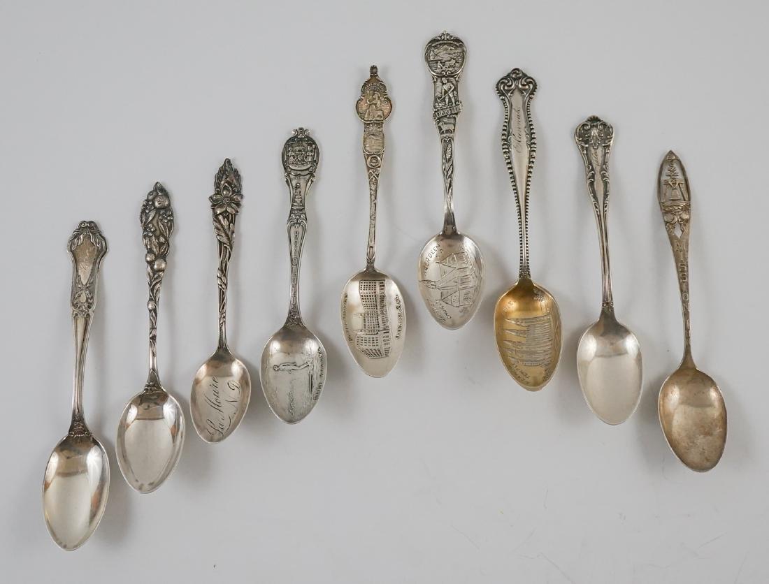 Nine Sterling Souvenir Spoons