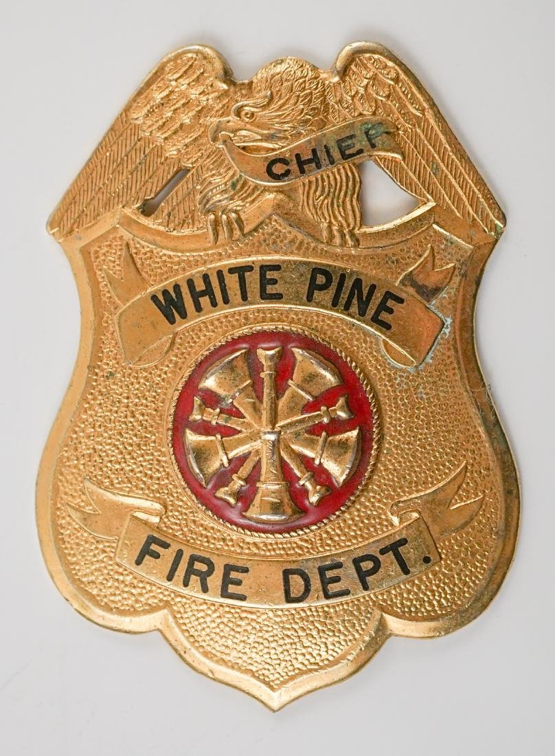 Vintage White Pine Fire Department Badge